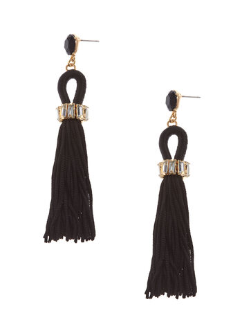 Crystal & Tassel Earrings, , hi-res