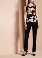 Sleeveless Floral Print Top, Black, hi-res