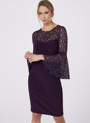 BA Nites - Sequin Lace Jersey Dress, , hi-res