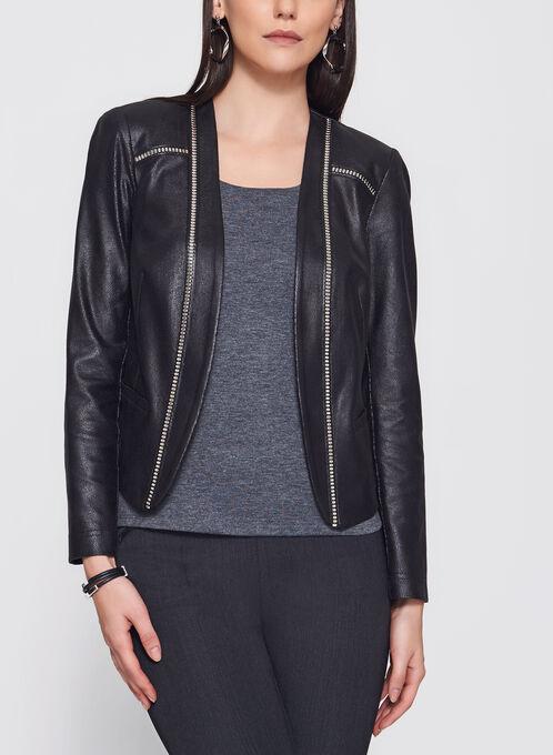 Vex - Open Front Faux Suede Jacket, Black, hi-res