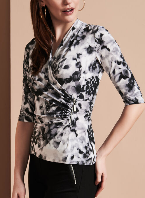 Faux Wrap Floral Print Top, Black, hi-res