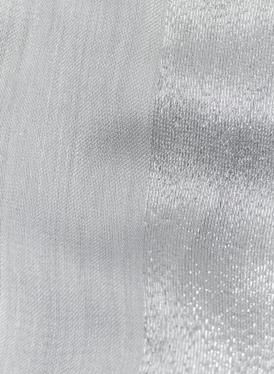 Glitter Trim Oblong Scarf , Silver, hi-res
