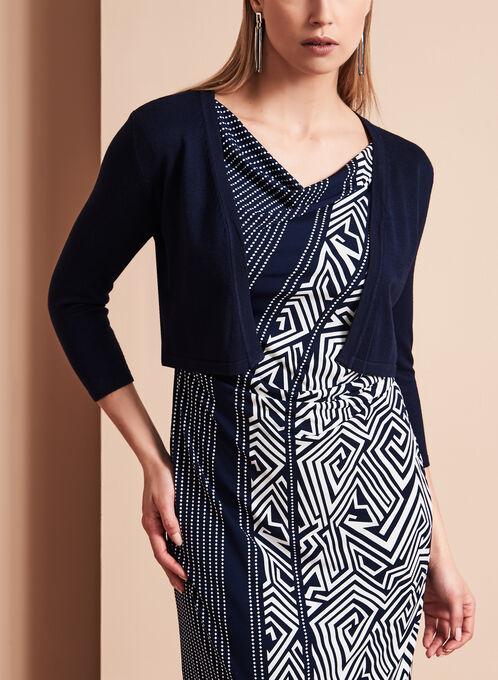 3/4 Sleeve Knit Bolero, Blue, hi-res