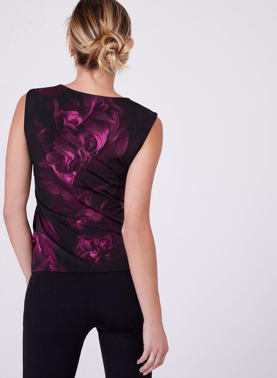 Floral Print Side Drape Top , Red, hi-res