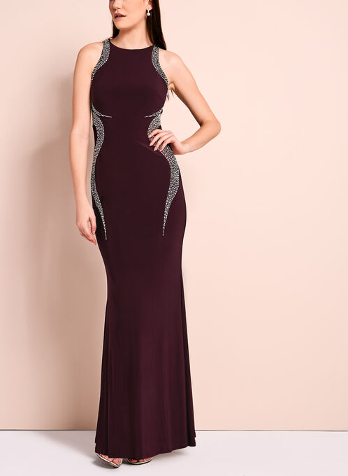 Crystal Embellished Jersey Gown, Red, hi-res