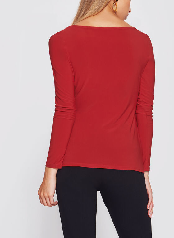 Asymmetric Side Pleated Draped Jersey Blouse, Red, hi-res