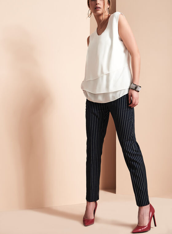 Sleeveless Cascade Front Blouse, Off White, hi-res
