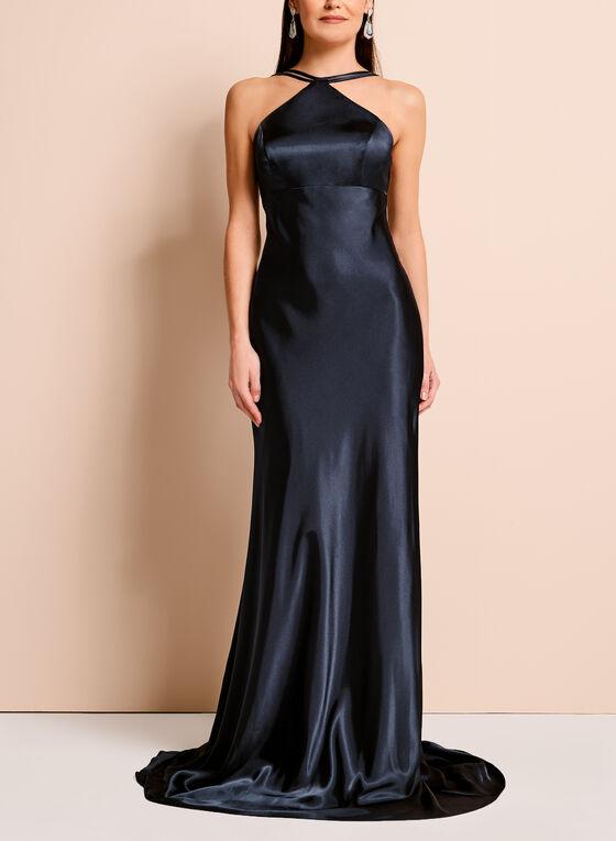 Strappy Halter Neck Gown, Blue, hi-res