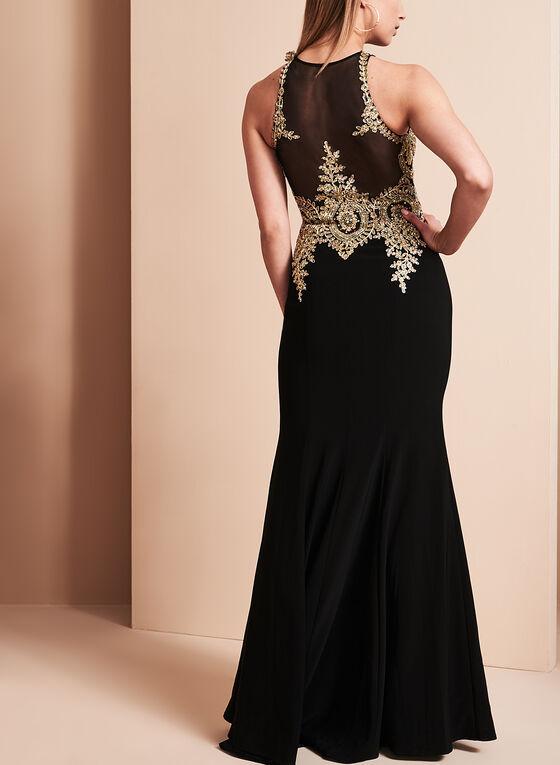 BA Nites Beaded Bodice Gown, Black, hi-res