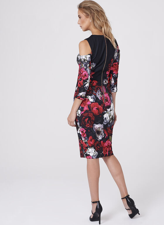 Floral Print Cold Shoulder Scuba Dress, Multi, hi-res
