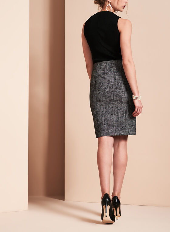 Novelty Print Pencil Skirt , Black, hi-res
