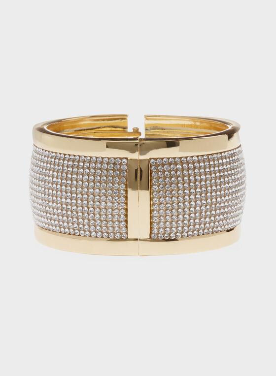 Wide Crystal Hinge Bracelet, Gold, hi-res