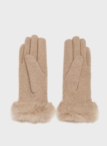 Rabbit Fur Cuff Knit Gloves, Brown, hi-res