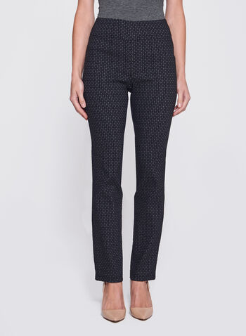 Straight Leg Pull-On Jacquard Pants, , hi-res