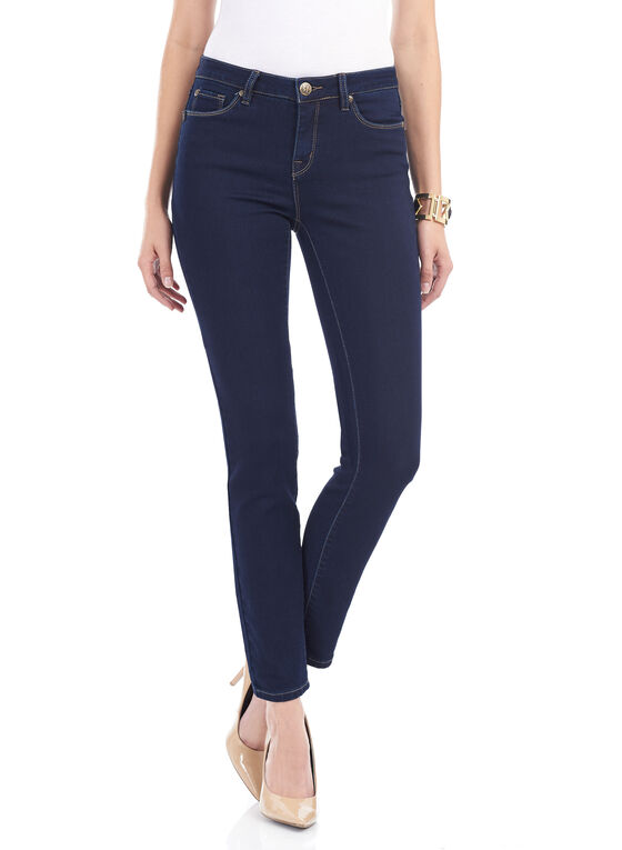 Tummy Control Slim Leg Denim Pants , Blue, hi-res