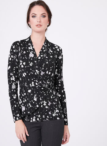 Surplice Neck Jersey Top , , hi-res