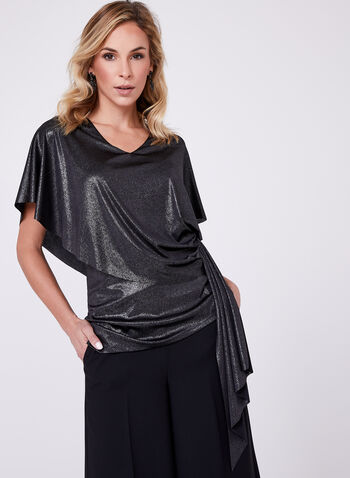 Metallic Drape Top, , hi-res