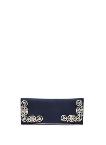 Crystal Embellished Satin Clutch, , hi-res