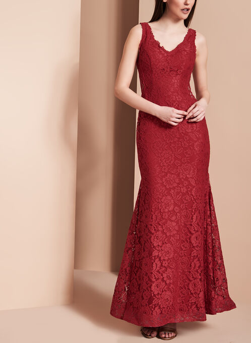 Luxe Lace Evening Gown, Red, hi-res