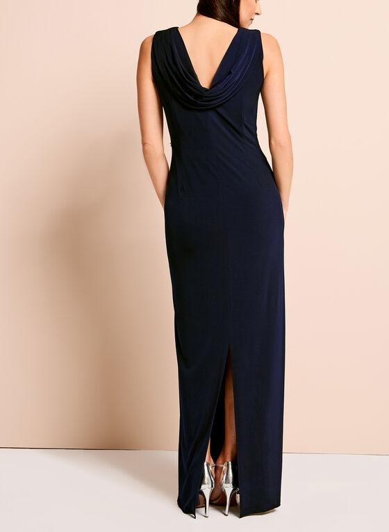Embellished Cowl Back Gown, Blue, hi-res