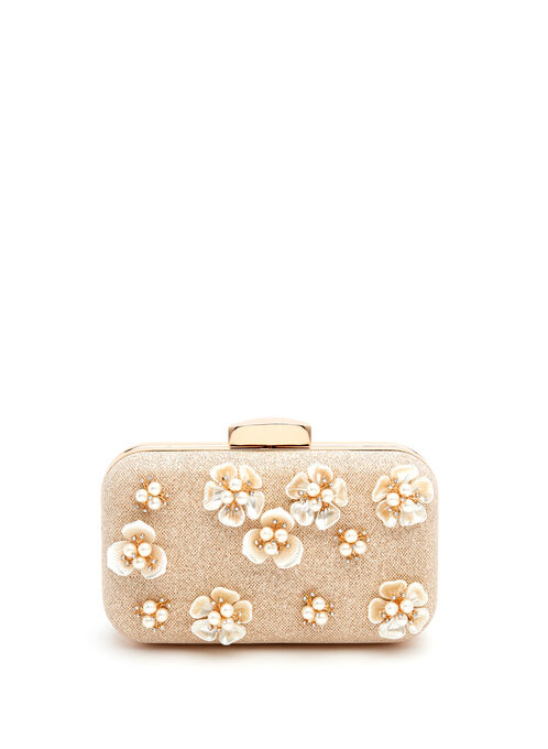 Floral Motif Box Clutch, Off White, hi-res