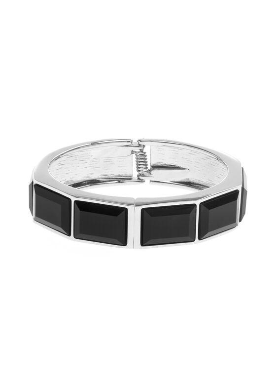 Geometric Bangle Bracelet , Black, hi-res