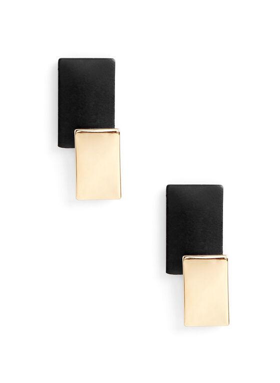 Geometric Dangle Earrings , Black, hi-res