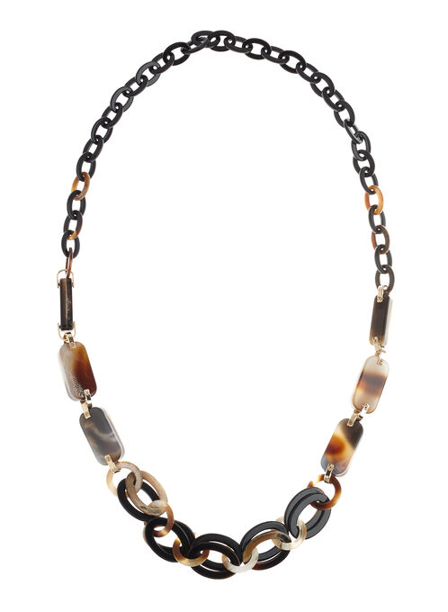 Lucite Link Necklace, Brown, hi-res
