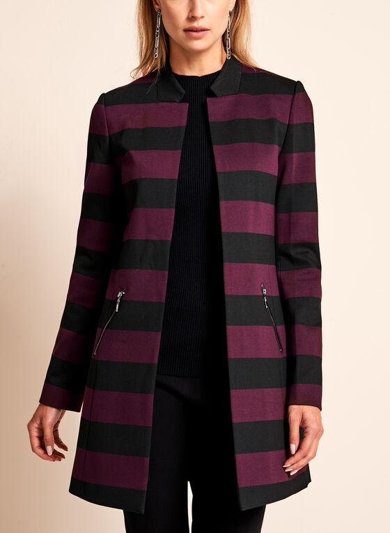 Stripe Print Ponte Jacket, Black, hi-res