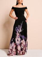 Off The Shoulder Floral Hem Gown, Multi, hi-res