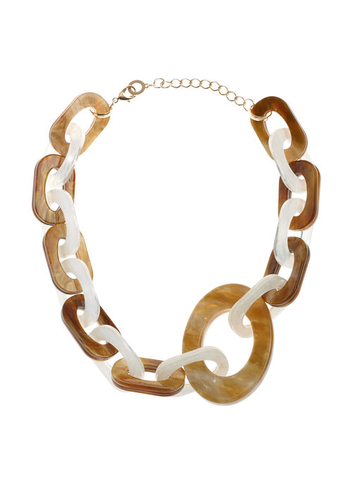 Lucite Link Necklace, Off White, hi-res