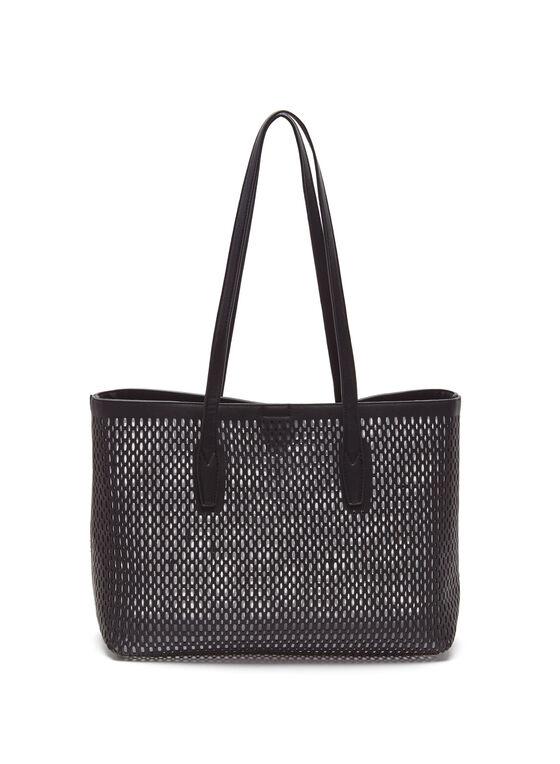 Perforated Studded Tote Bag, Black, hi-res