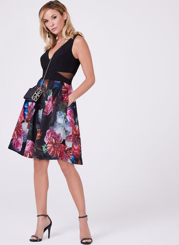 Floral Print Fit & Flare Dress , , hi-res