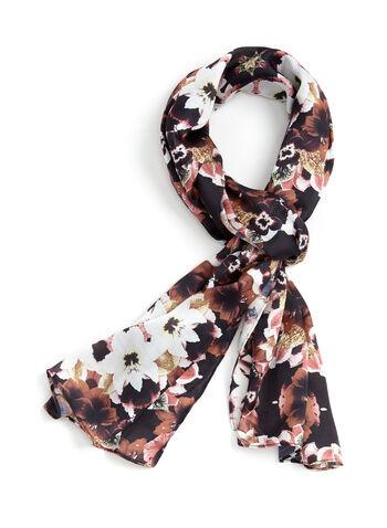 Floral Print Lightweight Scarf , , hi-res
