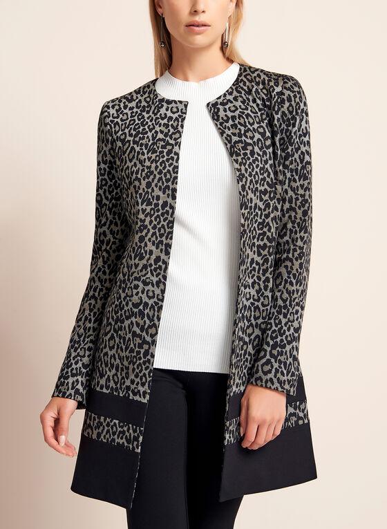 Leopard Print Long Blazer, Black, hi-res