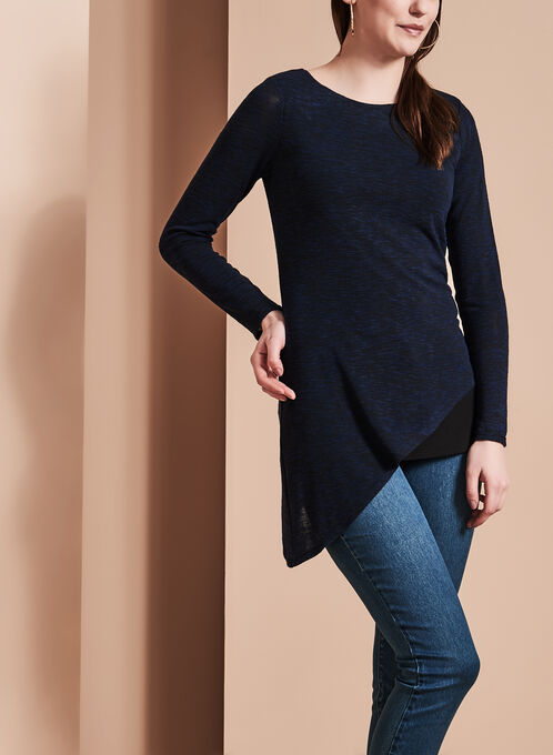 Long Sleeve Asymmetric Top, Blue, hi-res
