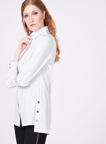 Button Down Long Sleeve Tunic Blouse, , hi-res