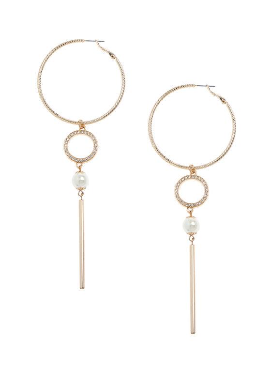Pearl & Baguette Hoop Earrings, Gold, hi-res