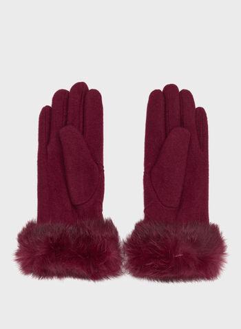 Rabbit Fur Cuff Knit Gloves, Red, hi-res
