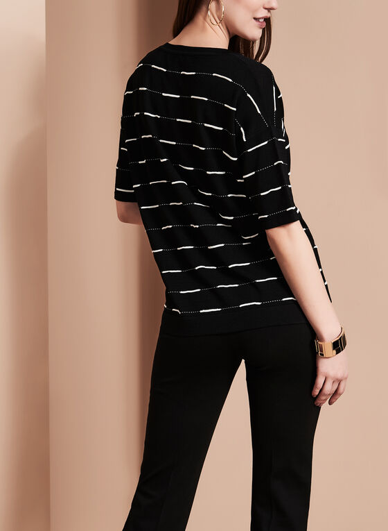Elena Wang - Stripe Print Knit Top, Black, hi-res