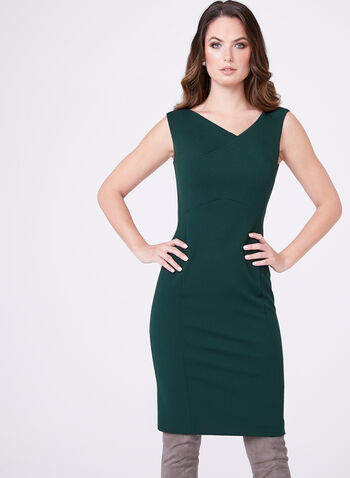 Asymmetric Neck Sheath Dress, , hi-res