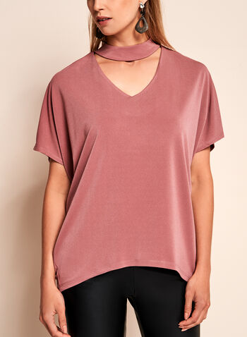 Crepe Knit Choker Top, , hi-res