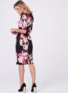 Floral Print Scuba Dress, Red, hi-res