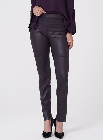 Faux Leather Leggings , Purple, hi-res