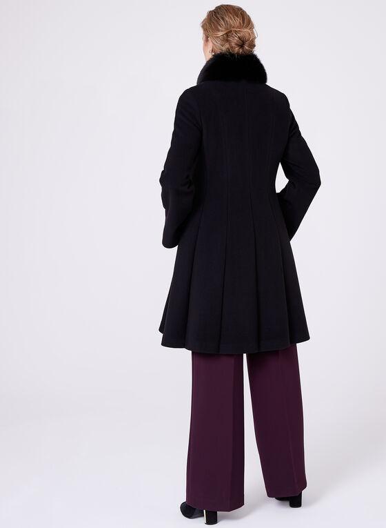 Mallia - Fur Trimmed Cashmere Blend Coat, Black, hi-res