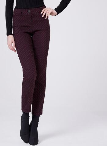 Geometric Print Straight Leg Jacquard Pants, , hi-res