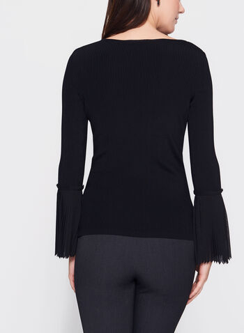 Chiffon Bell Sleeve Knit Sweater, , hi-res