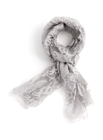 Sheer Rose Print Wrap Scarf, , hi-res