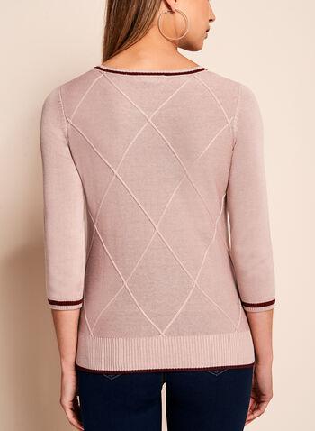 3/4 Sleeve Crew Neck Sweater, , hi-res