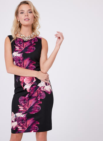 Floral Print Scuba Dress , , hi-res